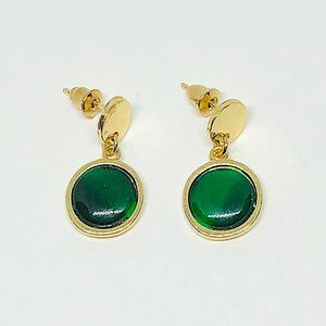 New! Round Faux Jade Drop Earrings Gold